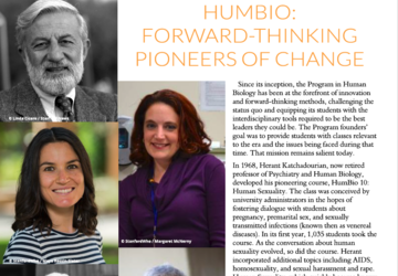 Human Biology newsletter orange and maroon banner featuring photos of HB faculty